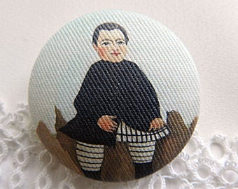 Button out of fabric, printed Douanier Rousseau,  1.57 in / 40 mm