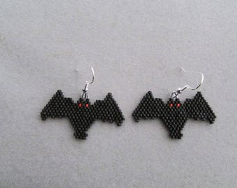 Red Eyed Bat Beaded Earrings