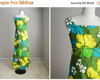 Summer SALE - 20% off - Vintage 60s Olive Green Blue Yellow Hawaiian Dress with Scarf Wrap Belt // womens xsmall small