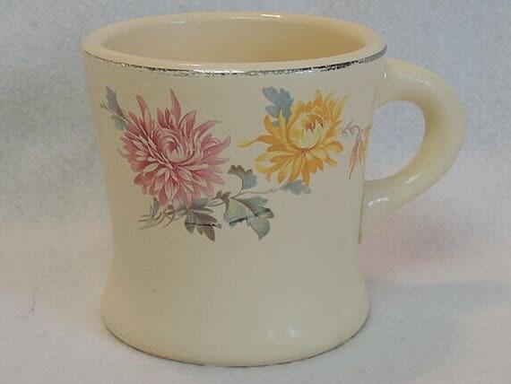 Rare Vintage HOMER LAUGHLIN Chrysanthemum Heavy Shaving Mug / Coffee Restaurant Ware