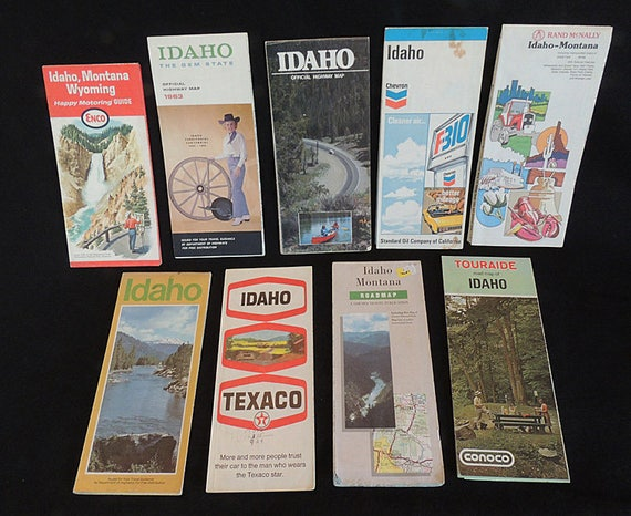 Lot Of 9 Vintage Idaho Highway Road Maps.. 1950s - 1970s