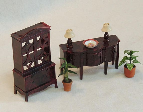 7 Pcs Vintage Renwal Ideal Dollhouse Furniture.. China Cab, Buffet, Lamps & More