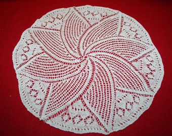 Vintage Hand Knitted Doily- 10 inch