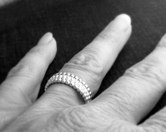 3 silver stacking bands / stackable silver rings / silver bead rings / tripple silver rings / gift for her