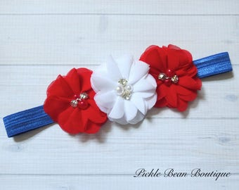 Fourth of July Baby Girls Headband, Red White Blue Headband, 4th of July Headband, Infant Headband, Patriotic Flower Head Band