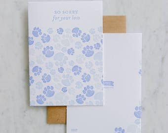 Pet Sympathy, So sorry for your loss - letterpress grief cards