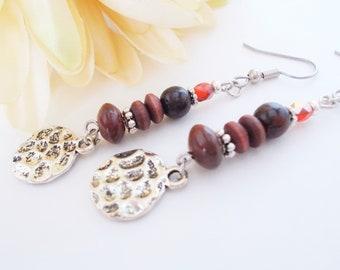 Wood Earrings Boho Beaded Earrings Sterling Silver, Bohemian Jewelry, Birthday Gift for Sister, Dangle Earrings Clip On, Leverback Earrings