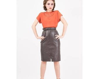 FLASH SALE... Vintage leather skirt / 1980s buttery soft leather pencil skirt / High waist knee length with belt and pockets / XS