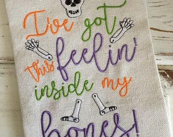 Feelin' Inside My Bones Skeleton Bones Halloween Embroidery Design 5x7 6x10 8x8 8x12