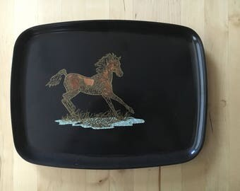 MCM - Vintage 1960's Couroc of Monterey Tray - Black Tray with Brass, Turqoise and Wood Inlay