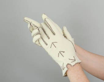 1950s vintage gloves / cream and brown knit gloves