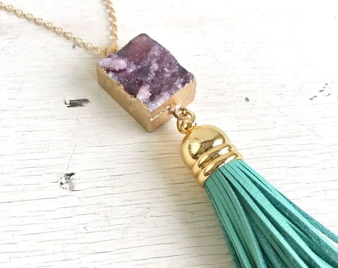 Tassel Necklace. Leather Tassel Necklace. Purple Druzy and Aqua Tassel Necklace. Long Tassel Necklace. Boho Tassel Jewelry Turquoise Jewelry