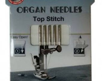 Organ eco packs of 5 , 80/12 or 90/14 topstitch machine needles , great for metallic threads,