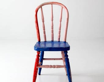 vintage painted children's chair, bright color spindle back chair