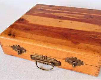 Nega File Wooden Slide File Box With 2 Latches And Handle