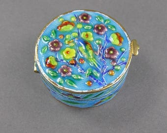 Enameled Trinket Box, Chinese Export, Bird, Flowers, Silver Pill Box, Small Container, Gift Box, Vintage New Old Stock
