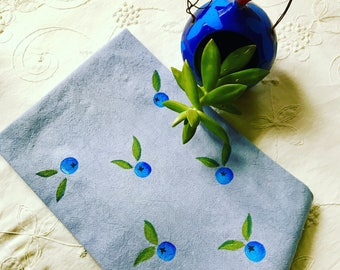 Blueberry dishtowel / hand dyed and hand painted and washable!