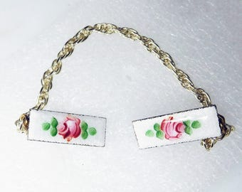 Sweater Guard/Clip Vintage enamel Red Roses Guilloche