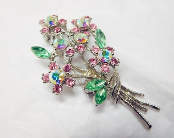 Flower Brooch Rhinestones Pink Clear Green Vintage floral spray with Butterfly