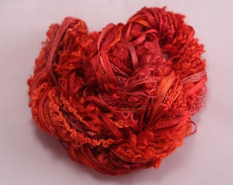 strawberry red Silk embroidery Thread Silk ribbon Hand Dyed Variegated quilting thread weaving supply scrapbook embellishment hand dyed