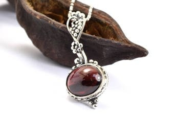 Sterling silver garnet necklace vines grapes pendant oval garnet stone pendant, artisan jewelry, January birthstone necklace, gift for her