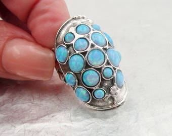 Hadar  Handcrafted Sterling Silver OPAL ,CHRISTMASS , GIFT,  Ring size 7 (166)