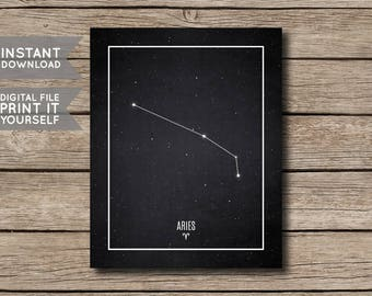 INSTANT DOWNLOAD - Aries Constellation Print / Printable Zodiac / Horoscope Constellation Print / Poster / Chalkboard Style - Digital File