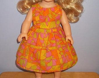 American 18 Inch doll clothes dress orange pink and yellow with flowers