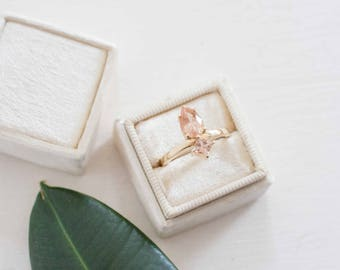 Pear Cut Sunstone + Princess Sunstone Engagement Ring | 14k Recycled Gold | One of a Kind