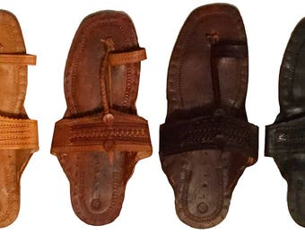 Handmade Hippie Jesus Buffalo Sandals 100% Leather ~ Custom Colored to Your Order