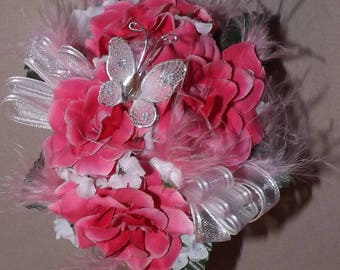 Hot Pink Artificial 4 Rose Wrist Corsage with Pink Feathers and a White Butterfly Added