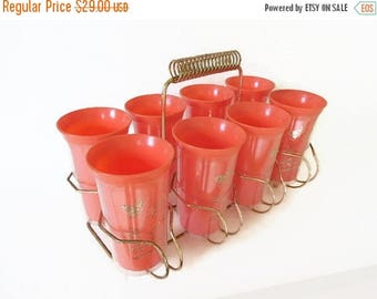 40% OFF NOW Set of 8 Orange and Gold Thermal Plastic Steri-Lite Tumblers in Brass Caddy