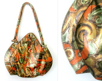 1980s Oversized Leather Handbag // Abstract Metallic Shoulder Satchel Bag