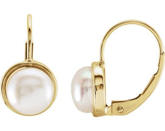 14K  Yellow Gold  Freshwater Cultured Pearl lever Back Earrings--- ST31350