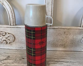 Vintage Red Plaid  Thermos - Perfect for Tailgating