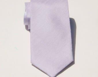 Lavendar shantung silk neck tie. Slub textured necktie lite purple skinny or standard tie for men