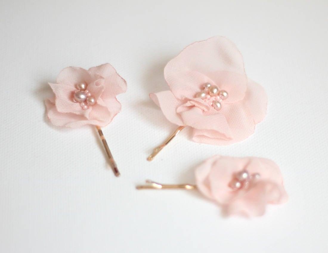 Pink Flower Pin Bridal Hair Pin Wedding Hair Clip Bridal Hair