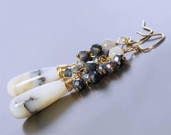 Dendrite Opal Dangle Earrings by Agusha. Opal, Silverite and Moonstone Earrings