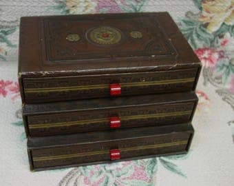 Antique Treasure Box with Red Bakelite Knobs on 3 Drawers, Embossed c.1930's Jewelry,Stationery, Etc.