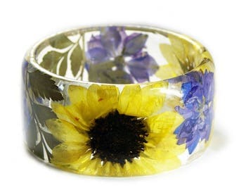 Sun Flower Bracelet -Yellow Flower Bracelet- Purple Flowers- Yellow Bracelet- Resin Jewelry- Yellow Resin Jewelry- Flower Bangle
