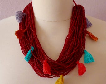 Chiapas trade bead multi-strand necklace deep red beads multi-color tassels - boho contemporary Frida Kaho - 17#4