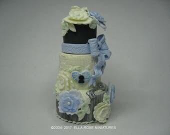 12th scale miniature Blue Lock and Key Cake