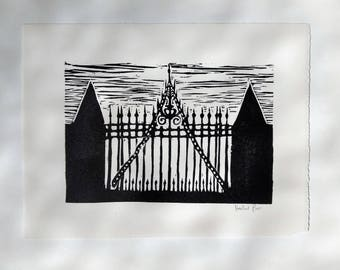 linocut print- the gate to Hill House
