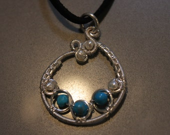 Turquoise and Fresh Water Pearl Pendant