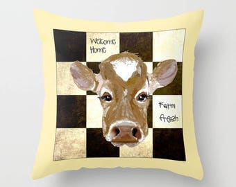 Indoor pillow cover with pillow insert, Indoor Pillow Cover, Farm Fresh Cow with checks and Welcome Home