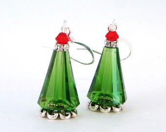 Christmas Tree Earrings - The Artemis Christmas Tree Earrings - Swarovski Crystal Christmas Tree Earrings - Ready to Ship - Gifts for Her