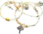 Oshun Waist Beads, Osun Citrine- Dragonfly-Peacock-Handmirror-Sunflower Waist Beads, African Waist beads, Citrine Belly Chain,