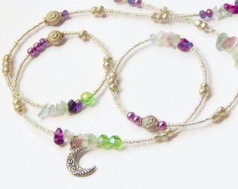Fluorite Waist Beads, Crescent Moon Fluorite Multicolored Waist Beads, Belly Chain, Belly Beads