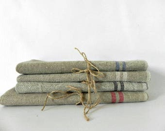 French linen dinner NAPKINS hemp farmhouse shabby chic rustic priced EACH frayed