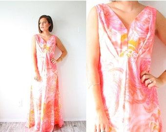 30% OFF SALE Retro neon pink/orange floral 60's maxi dress // pink floral maxi Hawaiian floral dress // summer floral maxi dress // v-neckli